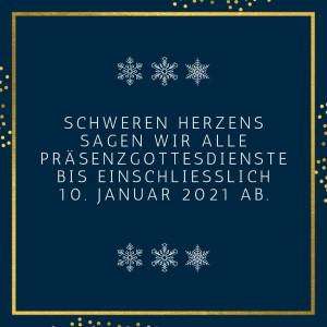 Absage der Präsenzgottesdienste bis zum 10. Januar 2021